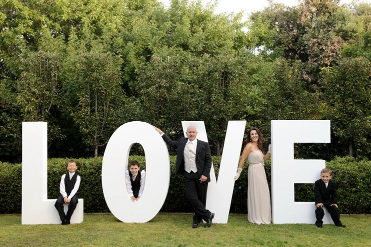 Large polystyrene letters that say love